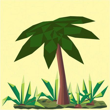 Veelhoekig palm- en cactuslandschap. Zon op de achtergrond Stock Illustratie
