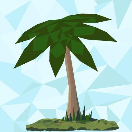 Lage polypalm met blauwe driehoek op de achtergrond Stock Illustratie