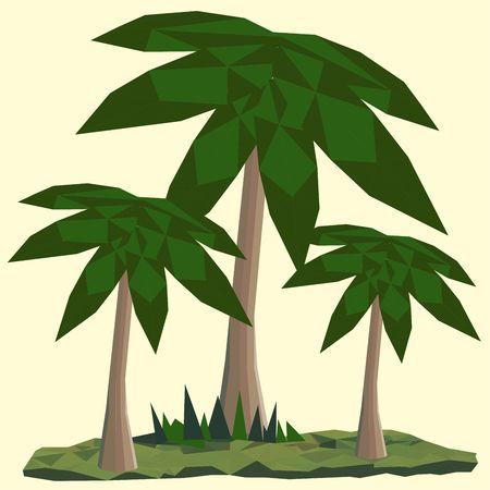 Veelhoekig landschap met palmen. Zon op de achtergrond