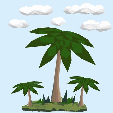 Veelhoekige groene palmen. Wolken op de achtergrond