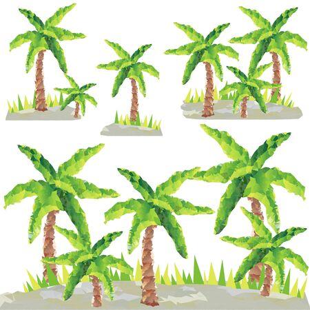 Veelhoekige palmbomen grafisch.