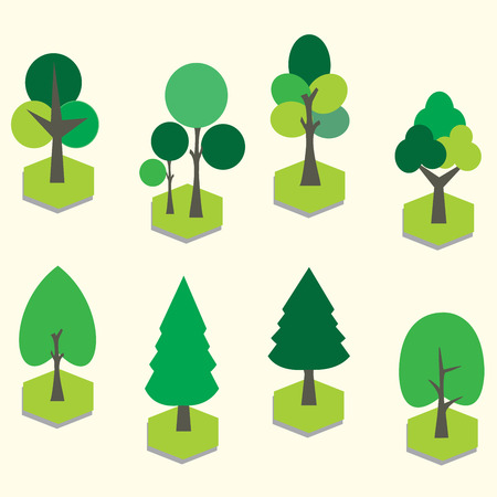 green environment: 3D tree clip art.
