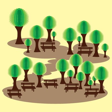 Eco park with benches and abstract green tress Illustration