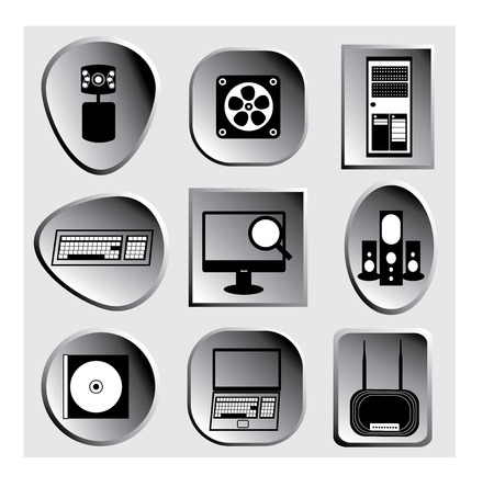 Three-dimensional vector grey technology icons
