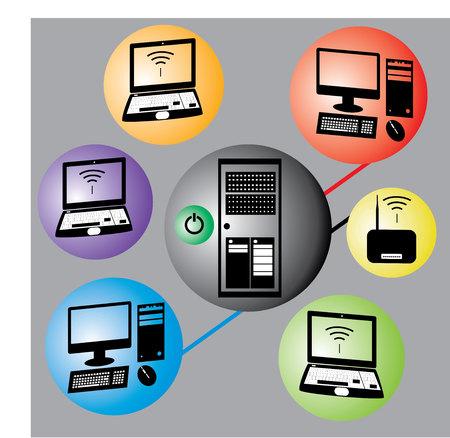 Modern color computer info graphic. Illusztráció