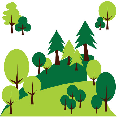cypress: Mountain landscape with pines and trees. Vector graphic Illustration