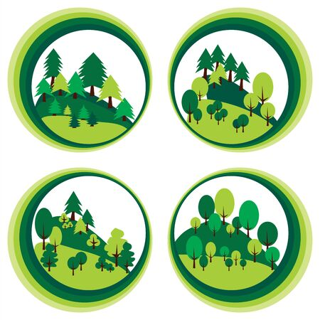 Trees and pines forest in circle. Mountain landscape Stock Vector - 84201282
