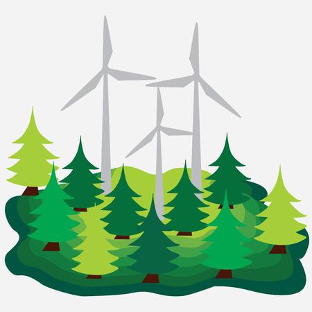 Eko - energy concept and ecology idea. Ilustrace