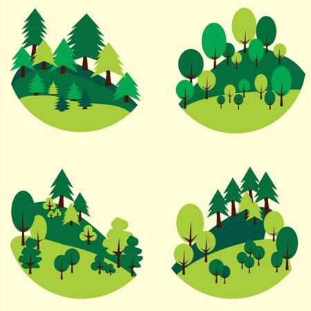 Forests trees and pines cut out in the form of a circle. Illustration
