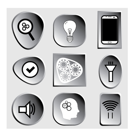 Set technology image or icon and symbol