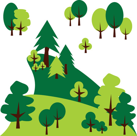 Mountain landscape with pines and trees. Vector graphic Иллюстрация