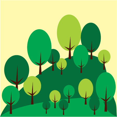 Mountain landscape with trees. Vector graphic illustration