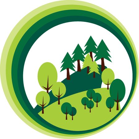 Trees and pines forest in circle Illustration