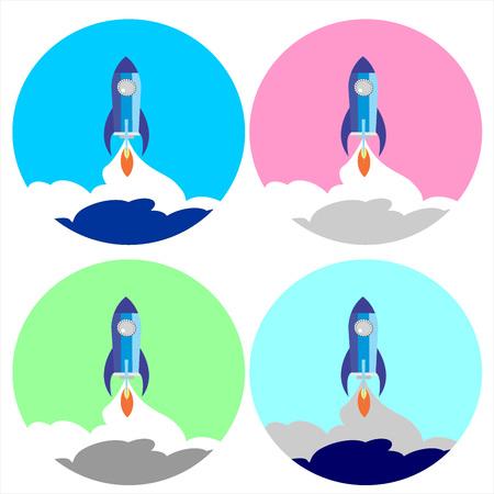 Flat Space Shuttle Rocket  Icon. set  Set four circle rocket icon. Illustration
