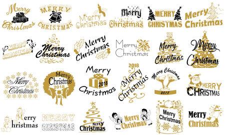 Merry Christmas. Typography set. Vector logo, emblems, text design. Illustration