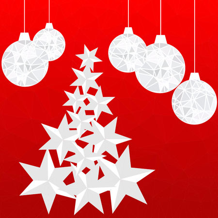 Abstract red vector polygon background for Christmas and New Year. Illustration