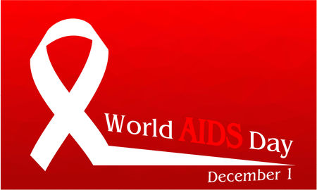 World Aids Day concept on red polygonal background. Illustration