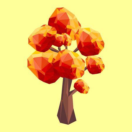 Polygonal autumn tree