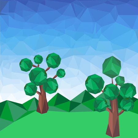 Abstract polygonal green landscape with trees on the mountain. Vector graphic background. Illustration