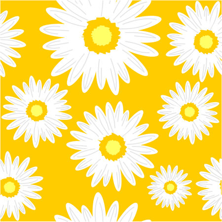 Seamless background with daisy flowers. Vector graphic illustration.