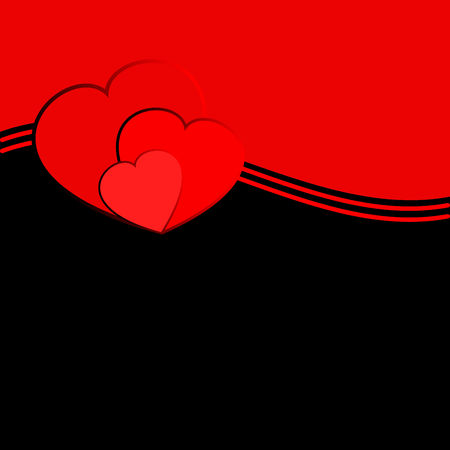 Vector design background with a turned out edge and with a silhouettes of hearts. Vector graphic suitable for Valentine`s day or wedding template.