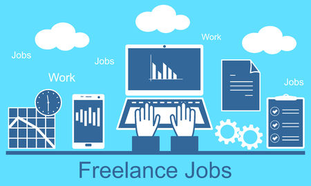 Remote work as a freelancer. Modern information technology, the workplace, tools freelancer and working space.
