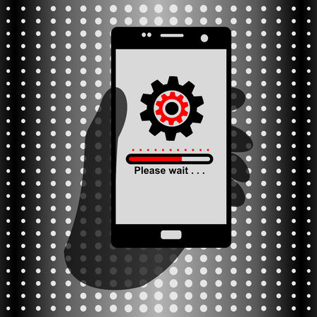 Hand Holding Phone for Business Communication. Icon Please wait on the screen. Vector Illustration isolated for graphic and web design.