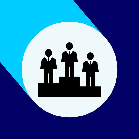 Business ladder on flat icon with long shadow.  Vector Illustration isolated for graphic and web design.