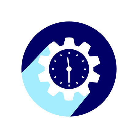 Clock in the shape of a gear. Icon with long shadow. Vector Illustration isolated for graphic and web design.