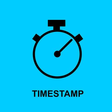 Icono plano de cadena de bloque. Símbolo de sello de tiempo. Ilustración de vector. Concepto de tecnología de cadena de bloques. Ilustración de vector