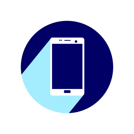 Mobile phone. Flat icon with long shadow. Vector Illustration isolated for graphic and web design.