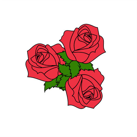 Red rose. Vector graphic illustration.