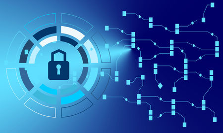 Cyber technology security, network data protection. Vector graphic illustration.