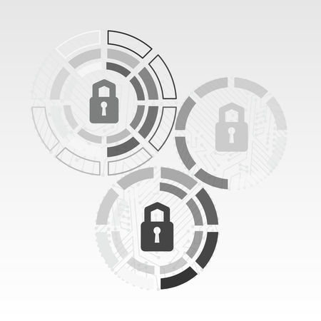 Cyber technology security, network data protection. Background vector graphic illustration.