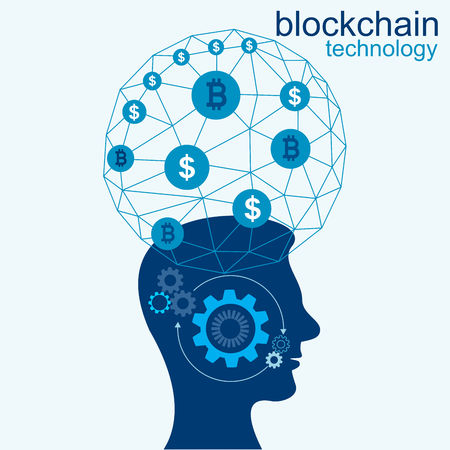 Background  illustration with silhouette of a man and blockchain network. Business Infographic. Vector of flat design. Illustration