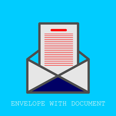 Envelope with Document icon. Single sign. Vector Graphic Design with blue background. Ilustrace