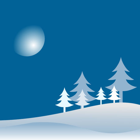 Winter season landscape with trees and hills. Night sky with moon and stars on background. Vector illustration for Christmas and New Year. Ilustrace