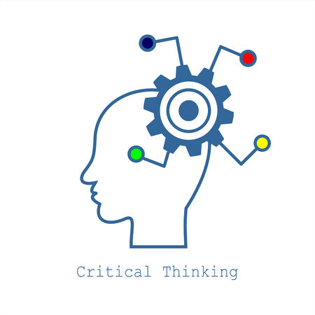 Symbol of Critical Thinking.  Concept for Web, Mobile or Apps. Profile of the head with gears. Modern design for flat icon. 矢量图像