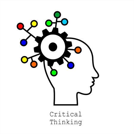 Symbol of Critical Thinking.  Concept for Web, Mobile or Apps. Profile of the head with gears. Modern design for flat icon. Illustration