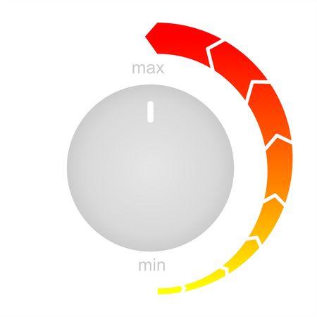 Minimum to maximum controls. Control Knob Used For Regulating. Flat icon on white background.