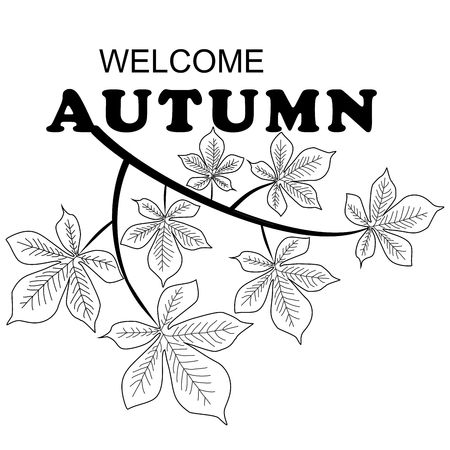 Welcome Autumn background with leaves and branch chestnuts.