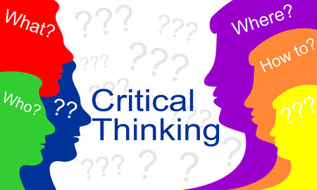 Critical thinking concept of creative solution. Brain storm problem solving. Business vector illustration.