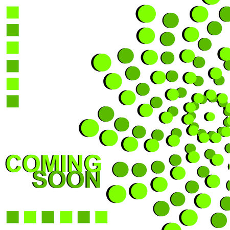Coming Soon. Horizontal 3D banner with dots. Vector graphic illustration. Vettoriali