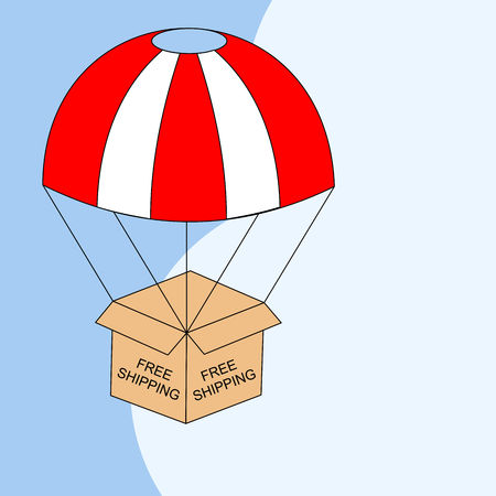 Web banner for Free shipping or E-Commerce. Packages are flying on parachutes. Flat vector illustration. Ilustração
