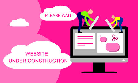 Website under construction. Two of young professionals working on a web page. Web development. Illustration