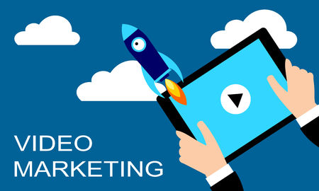 Content of video marketing. Businessman holding a tablet with a rocket. Concept flat