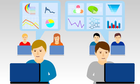 Concept for business analyst, marketing research and freelancer or employee. Vector flat design for web banner.
