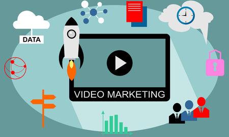 Content of video marketing. Concept flat design vector. Ilustração