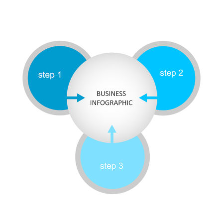 Chart design for business presentations with three steps.