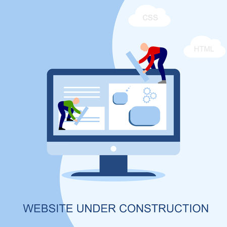 Website under construction. Two of young professionals working on a web page. Web development.  イラスト・ベクター素材